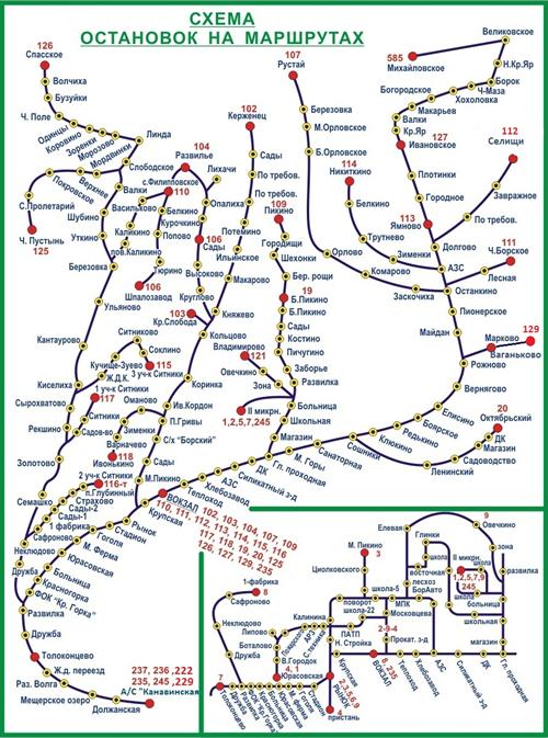 Схема маршрутов МУП Борское ПАП.